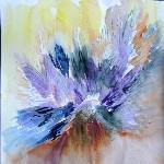 abstraction aquarelle et crayon de couleur