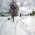 aquarelle :neige de novembre