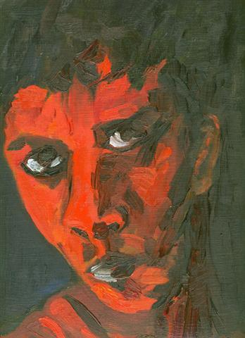 indien huile sur toile peint au doigt